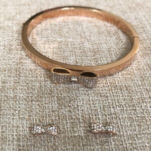 Kate Spade Rose Gold Bow Bracelet and Earrings